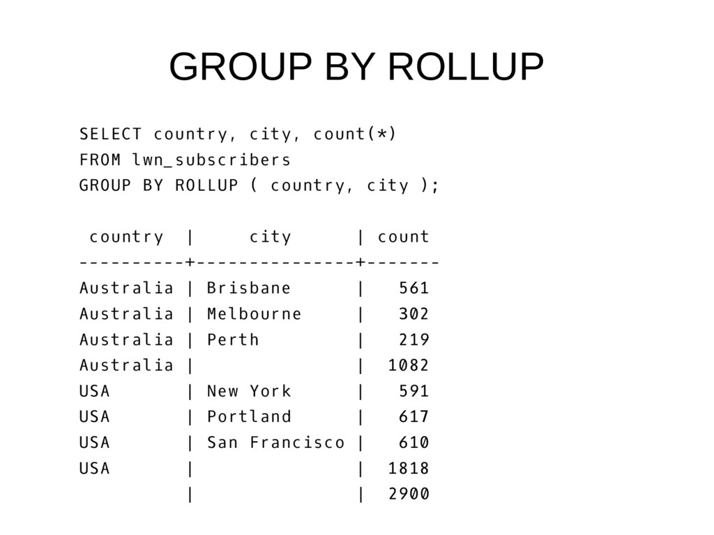 GROUP BY ROLLUP SELECT country, city, count(*) ...