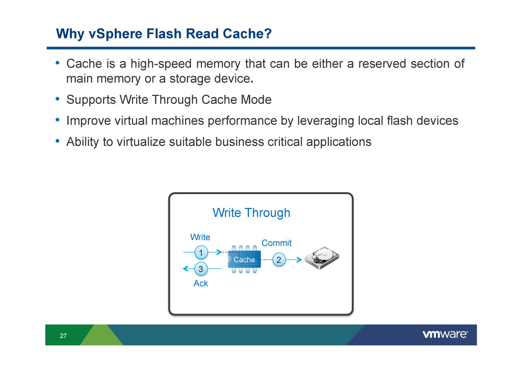 27 Why vSphere Flash Read Cache? • Cache is a ...