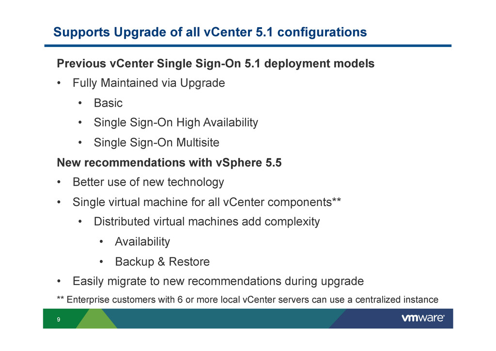 9 Supports Upgrade of all vCenter 5.1 configura...
