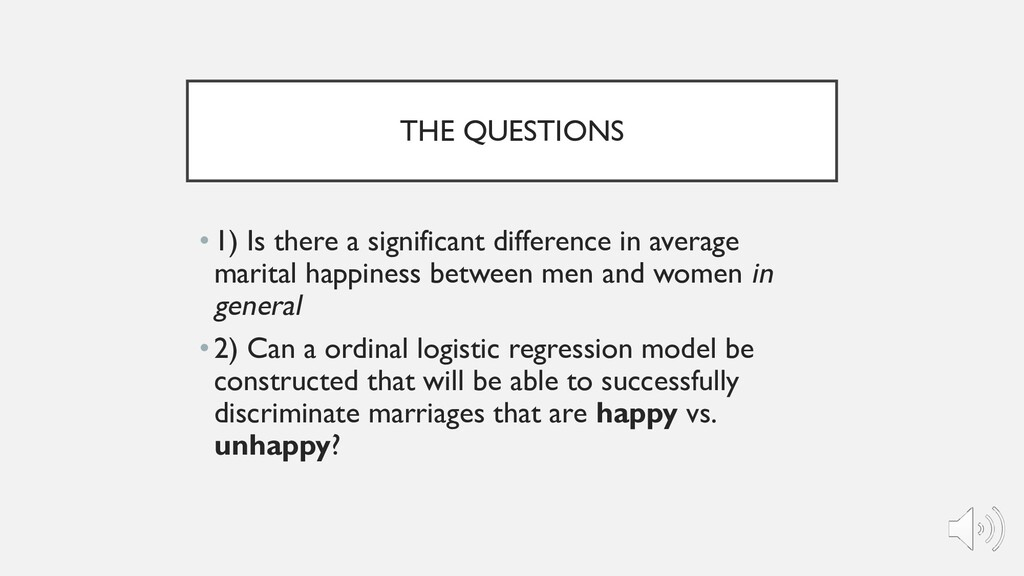 THE QUESTIONS •1) Is there a significant differ...