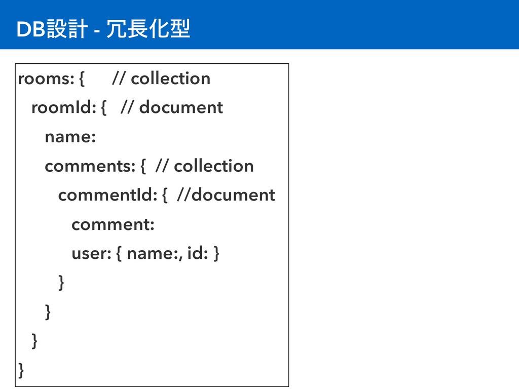 DBઃܭ - Խܕ rooms: { // collection roomId: { //...