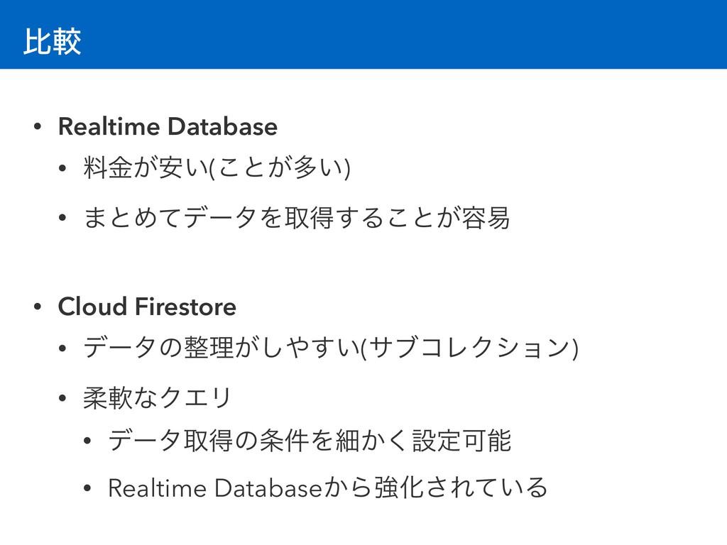 ൺֱ • Realtime Database • ྉ͕͍ۚ҆(͜ͱ͕ଟ͍) • ·ͱΊͯσʔλ...