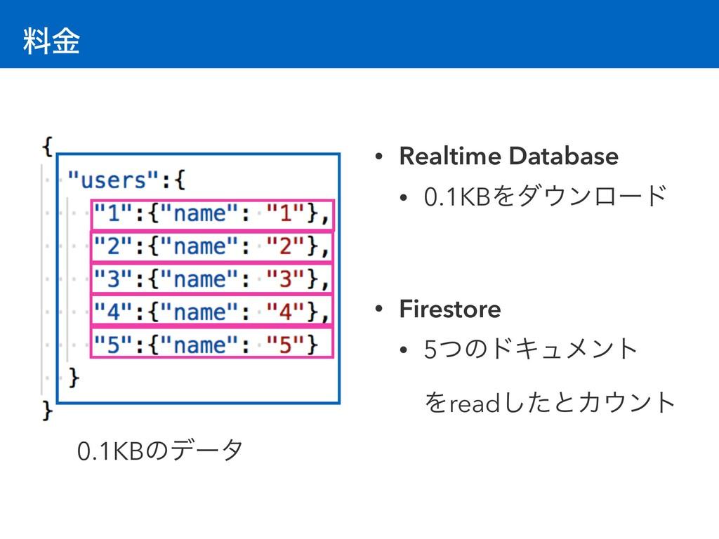 ྉۚ 0.1KBͷσʔλ • Realtime Database • 0.1KBΛμϯϩʔυ...