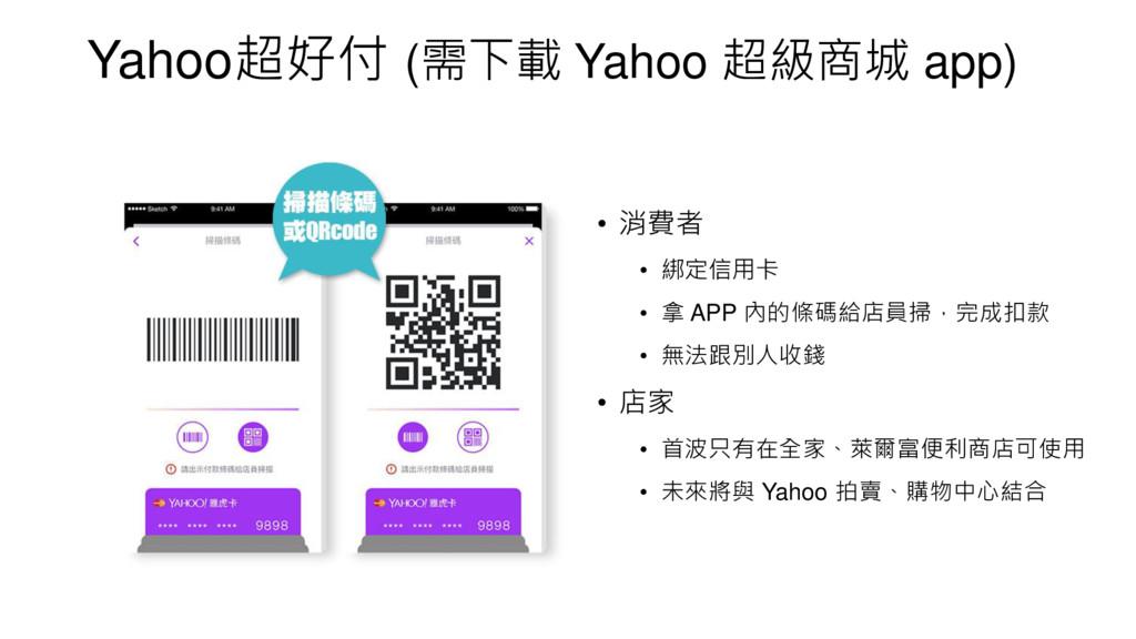 Yahoo超好付 (需下載 Yahoo 超級商城 app) • 消費者 • 綁定信用卡 • 拿...