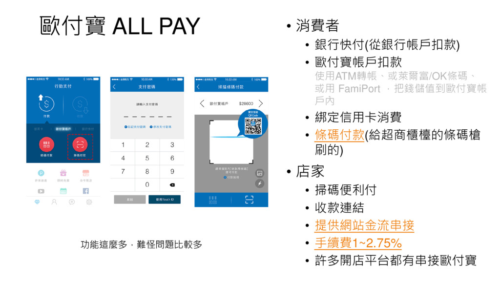 歐付寶 ALL PAY • 消費者 • 銀行快付(從銀行帳戶扣款) • 歐付寶帳戶扣款 使用A...