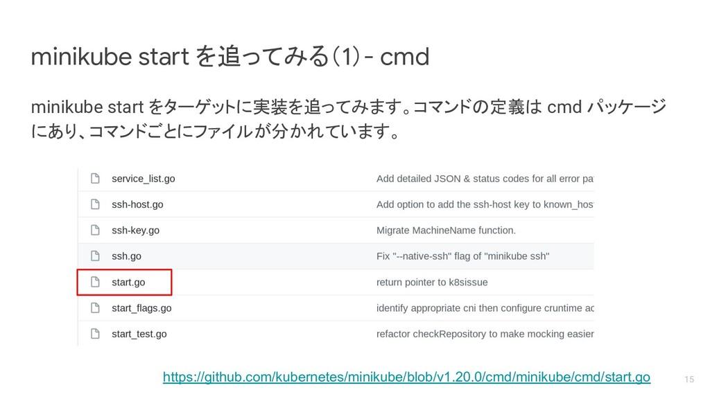 minikube start をターゲットに実装を追ってみます。コマンドの定義は cmd パッ...