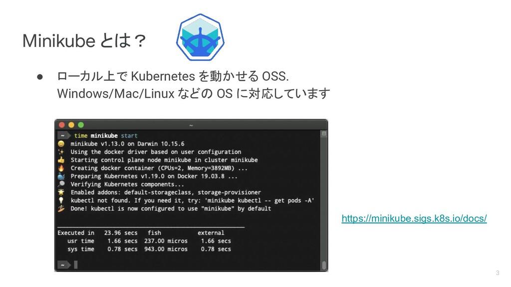 Minikube とは? https://minikube.sigs.k8s.io/docs/...