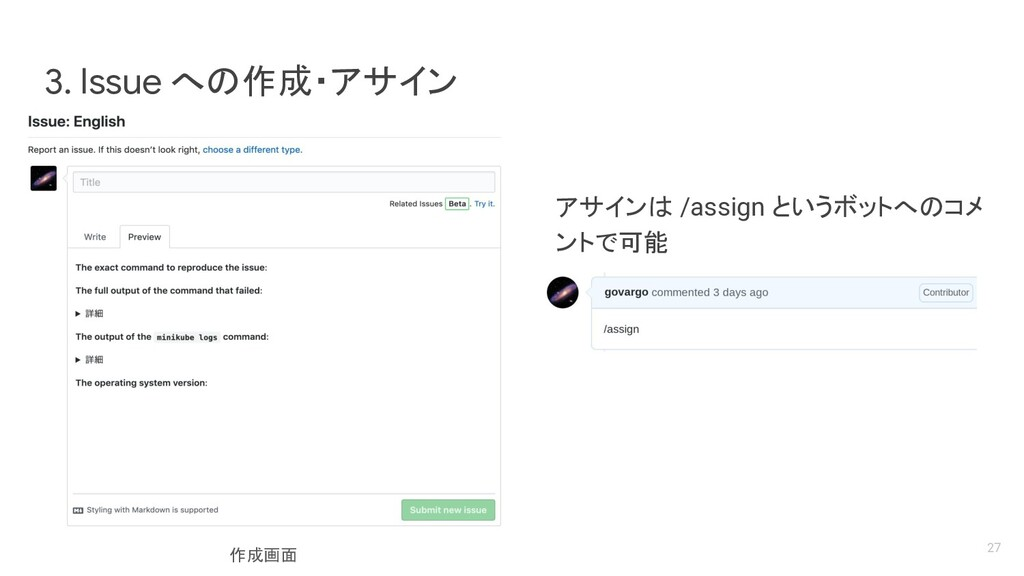 アサインは /assign というボットへのコメ ントで可能 3. Issue への作成・アサ...