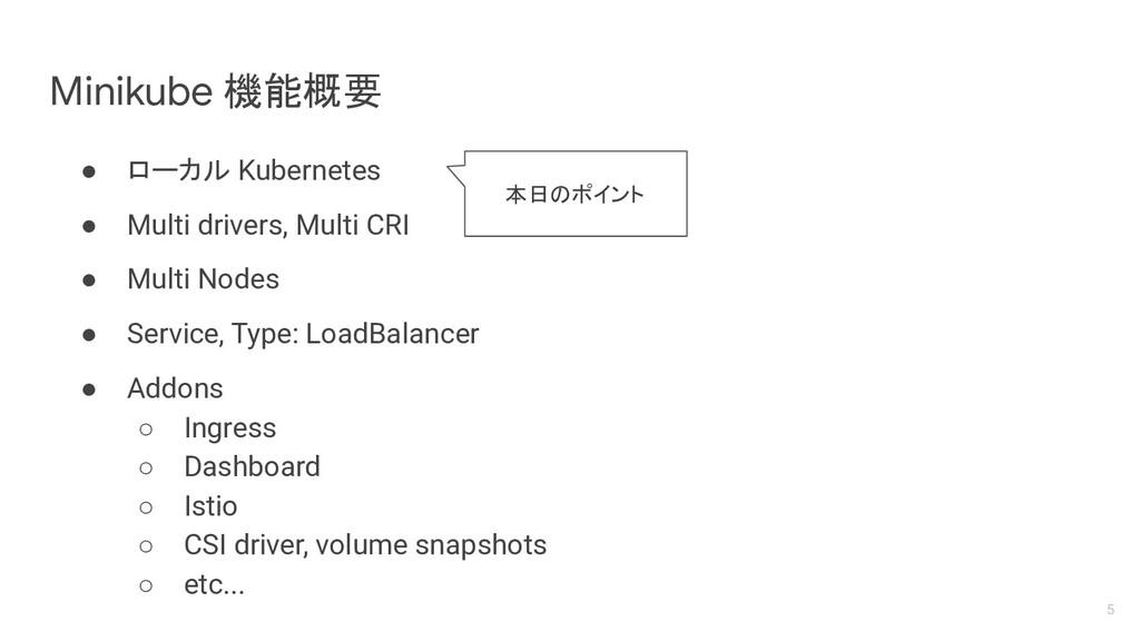 Minikube 機能概要 ● ローカル Kubernetes ● Multi drivers...