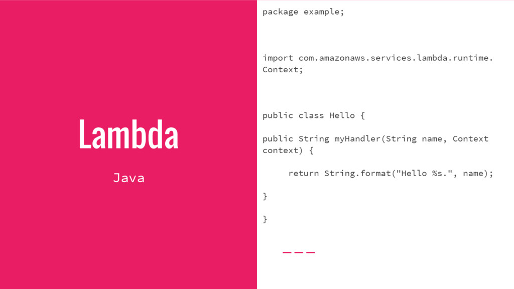 Lambda package example; import com.amazonaws.se...