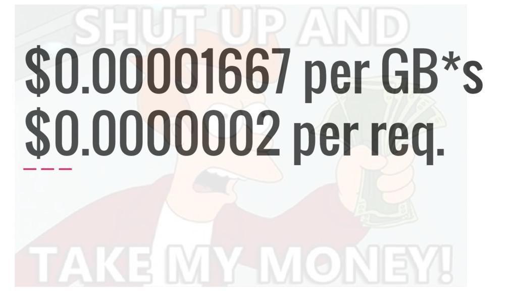 $0.00001667 per GB*s $0.0000002 per req.