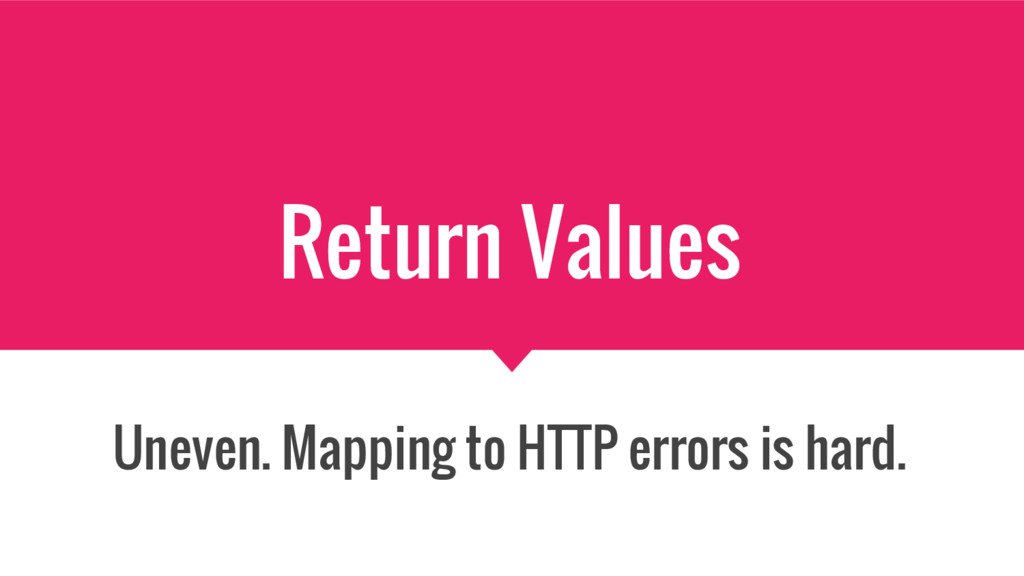 Return Values Uneven. Mapping to HTTP errors is...