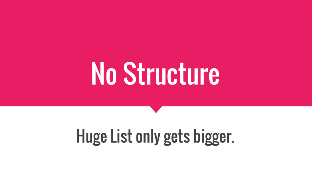 No Structure Huge List only gets bigger.