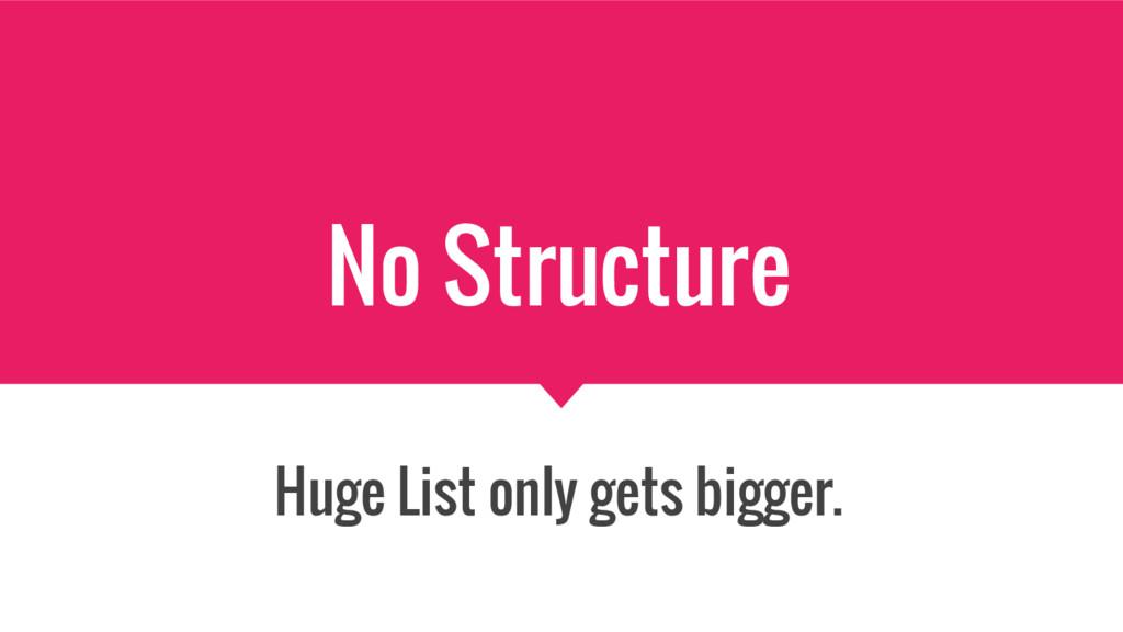 No Structure Huge List only gets bigger.