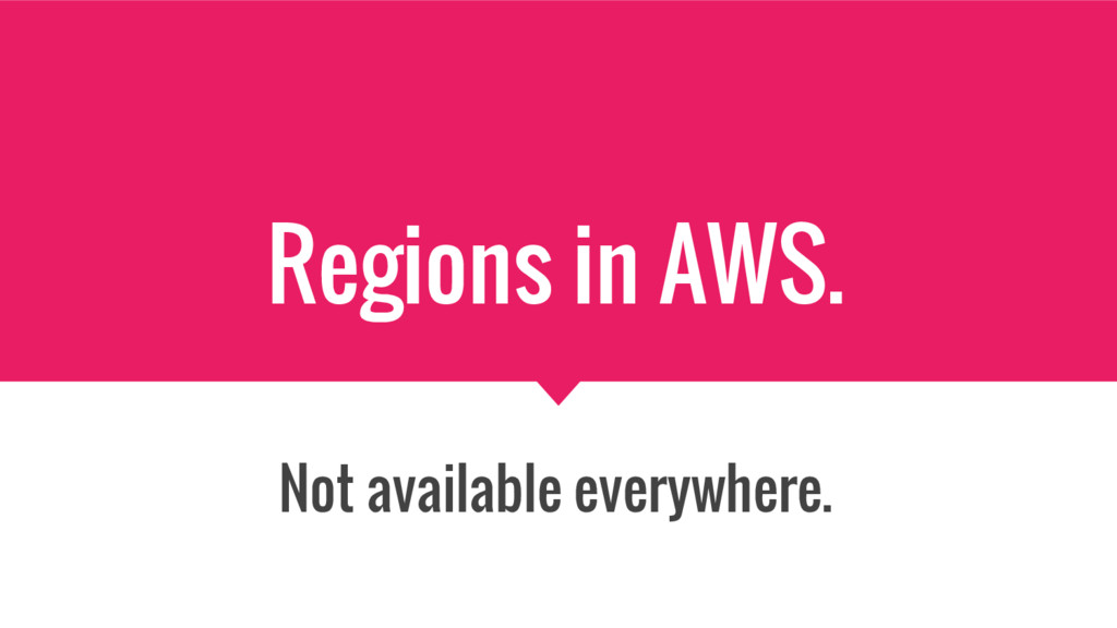 Regions in AWS. Not available everywhere.