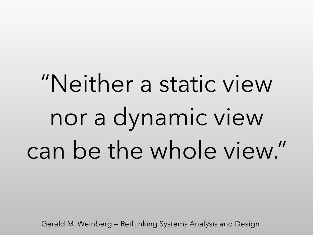 """Neither a static view nor a dynamic view can b..."
