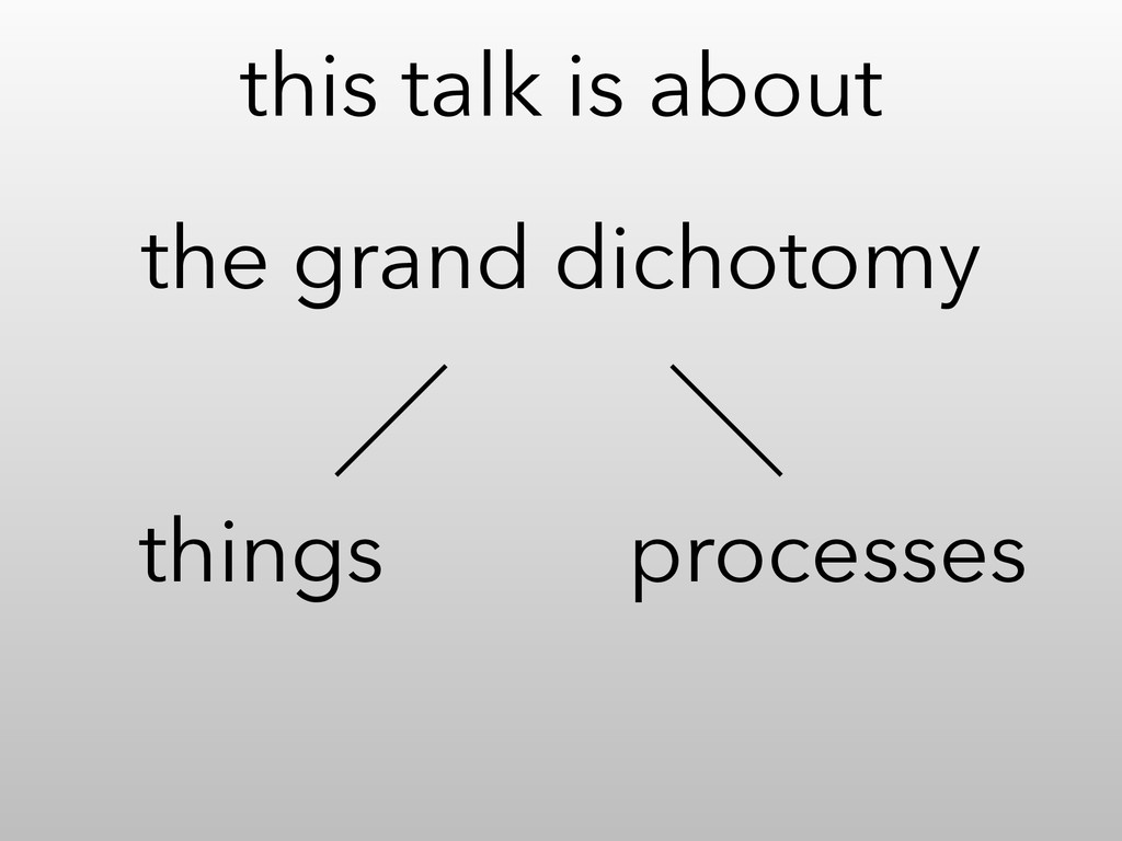 this talk is about things processes the grand d...
