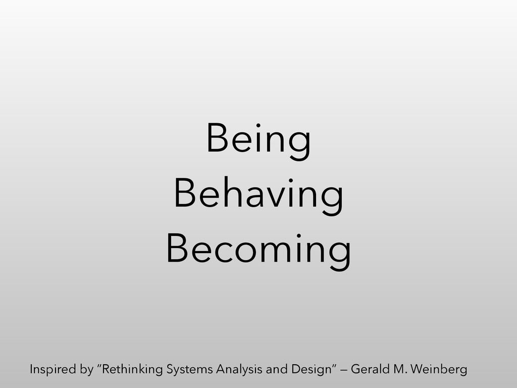 "Being Behaving Becoming Inspired by ""Rethinking..."
