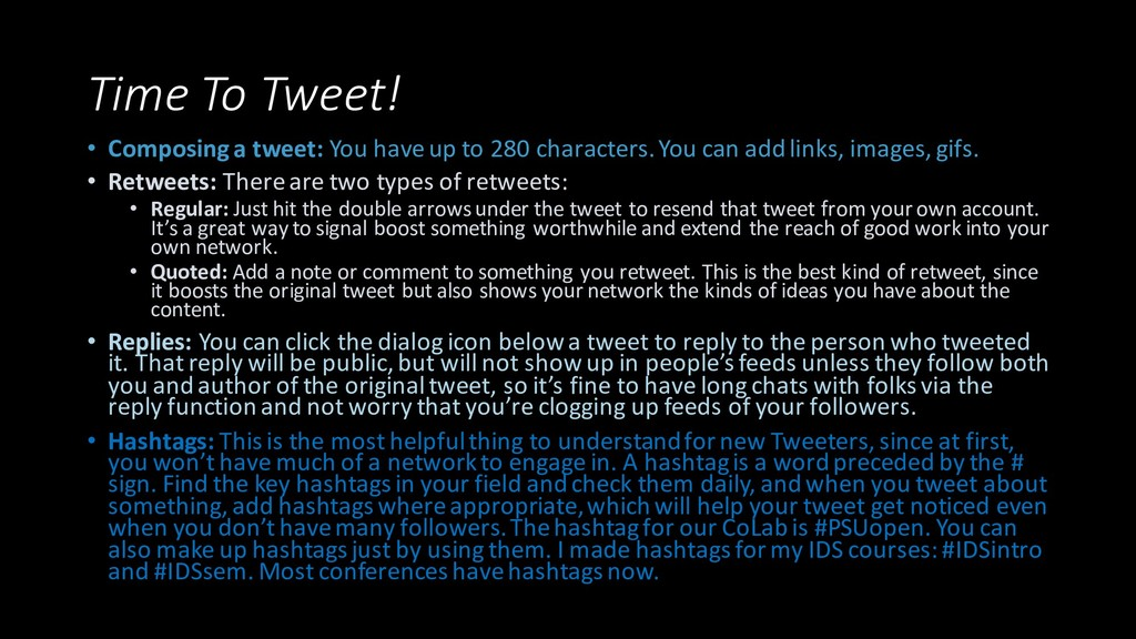 Time To Tweet! • Composing a tweet: You have up...