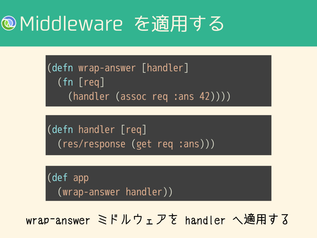 .JEEMFXBSFΛద༻͢Δ (defn wrap-answer [handler] (f...