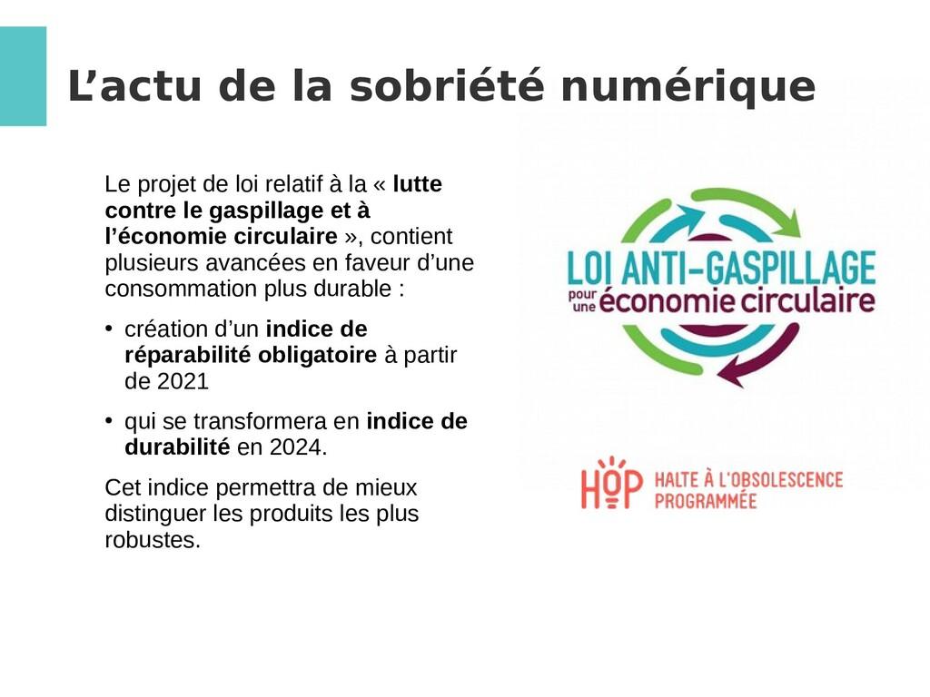 L 'actu de la sobriété numérique Le projet de l...