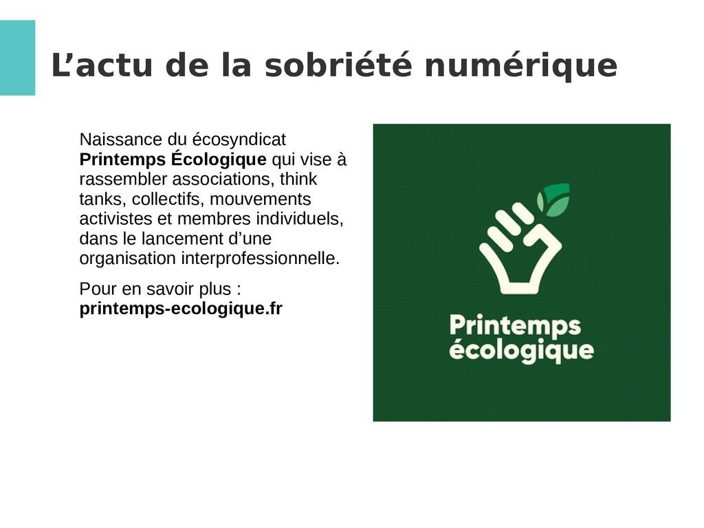 L 'actu de la sobriété numérique Naissance du é...