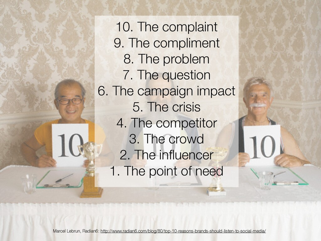 10. The complaint 9. The compliment 8. The prob...