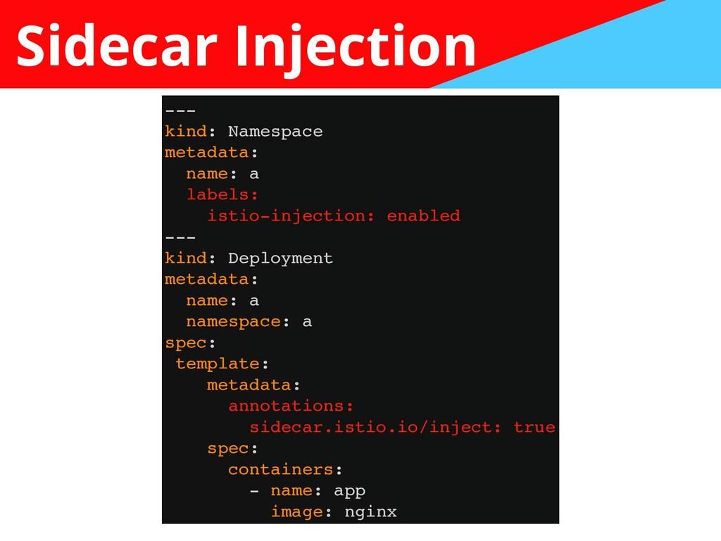 Sidecar Injection -- -  kind: Namespac e  metad...