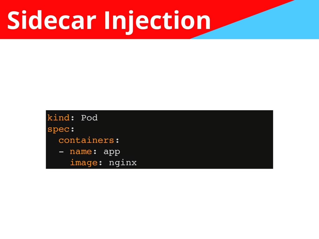 Sidecar Injection kind: Po d  spec :  container...