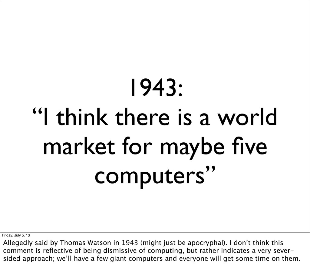 """1943: """"I think there is a world market for mayb..."""