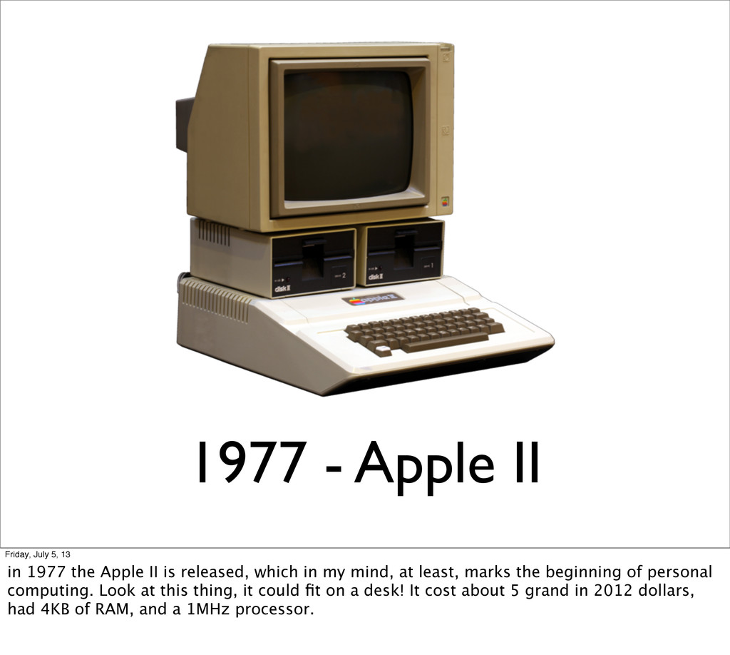 1977 - Apple II Friday, July 5, 13 in 1977 the ...