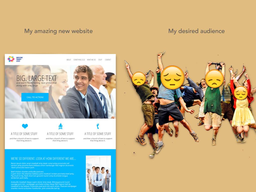 My amazing new website My desired audience