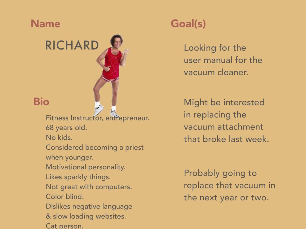 Name Goal(s) Bio RICHARD Fitness Instructor, en...