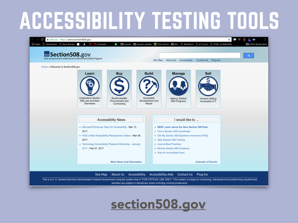 ACCESSIBILITY TESTING TOOLS section508.gov