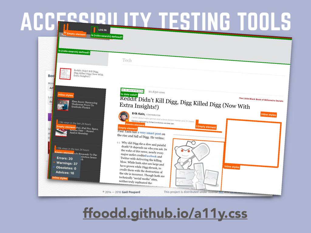 ACCESSIBILITY TESTING TOOLS ffoodd.github.io/a1...