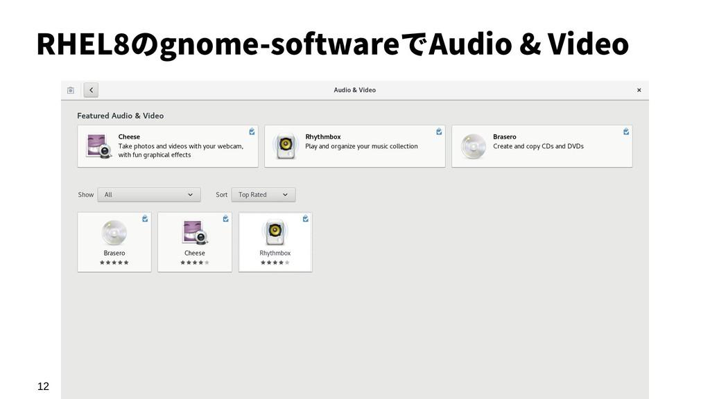 12 RHEL8のgnome-softwareでAudio & Video