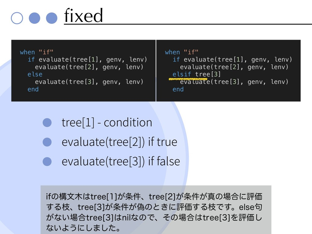 fixed tree[1] - condition evaluate(tree[2]) if ...