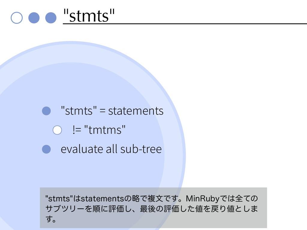 """""""stmts"""" """"stmts"""" = statements != """"tmtms"""" evaluat..."""