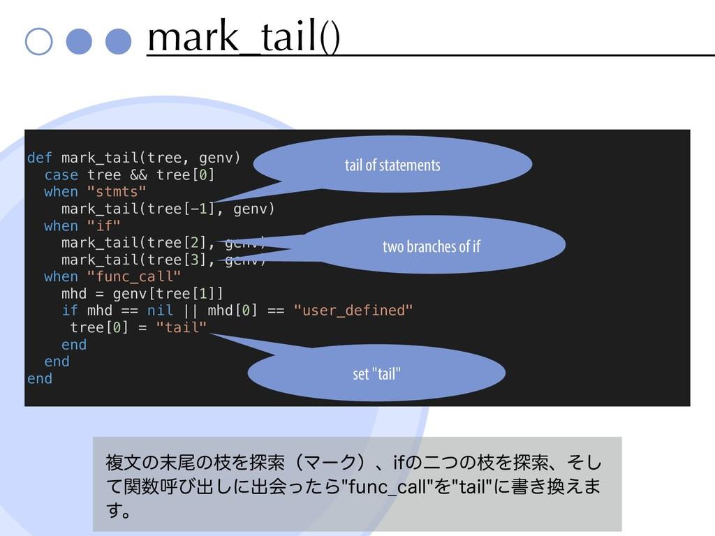 mark_tail() ෳจͷඌͷࢬΛ୳ࡧʢϚʔΫʣɺJGͷೋͭͷࢬΛ୳ࡧɺͦ͠ ͯؔݺͼ...