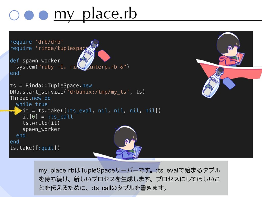 my_place.rb require 'drb/drb' require 'rinda/tu...