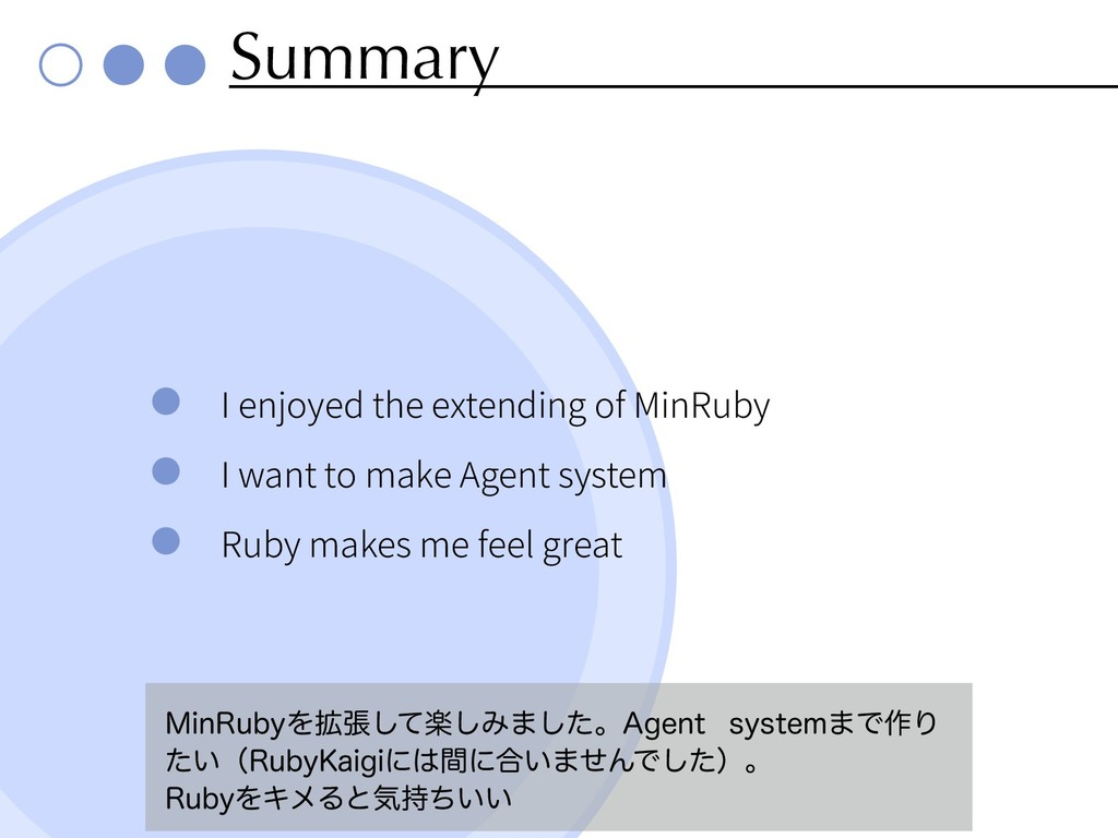 Summary I enjoyed the extending of MinRuby I wa...