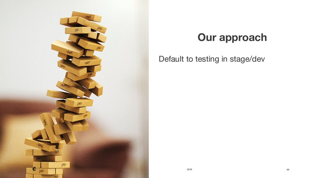 2019 86  Our approach  Default to testing in...