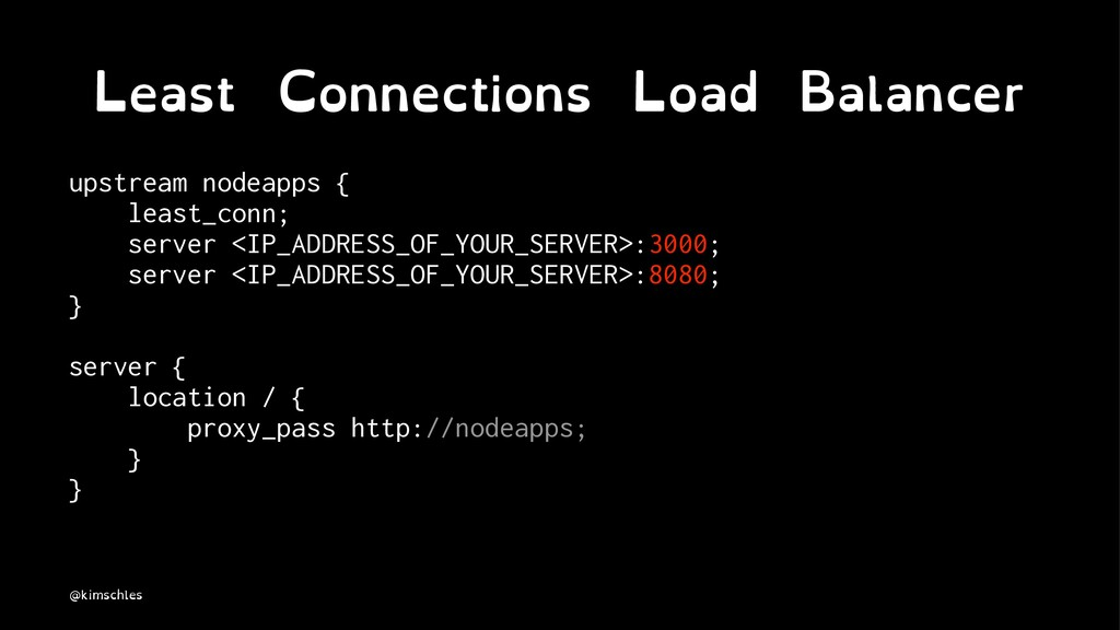 Least Connections Load Balancer upstream nodeap...