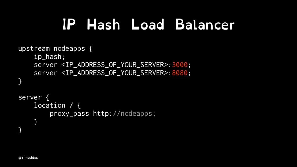 IP Hash Load Balancer upstream nodeapps { ip_ha...