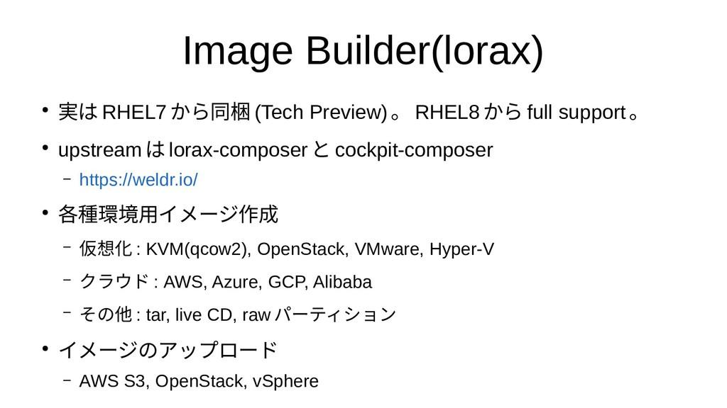Image Builder(lorax) ● 実は RHEL7から同梱 (Tech Previ...