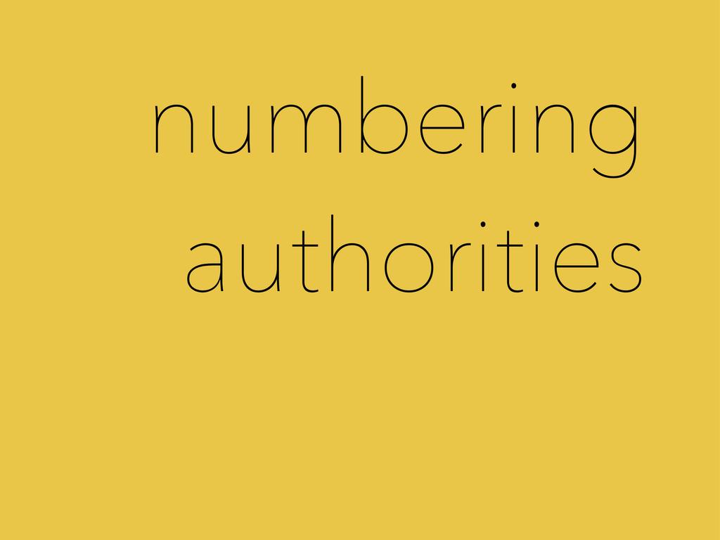 numbering authorities
