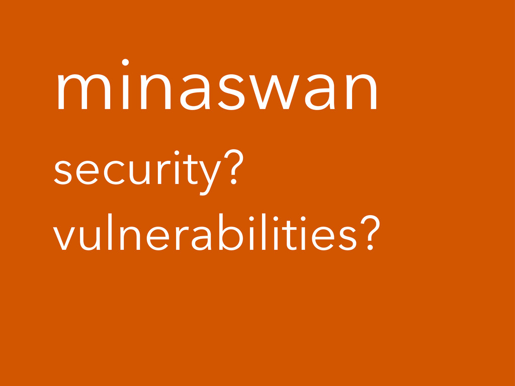 minaswan security? vulnerabilities?