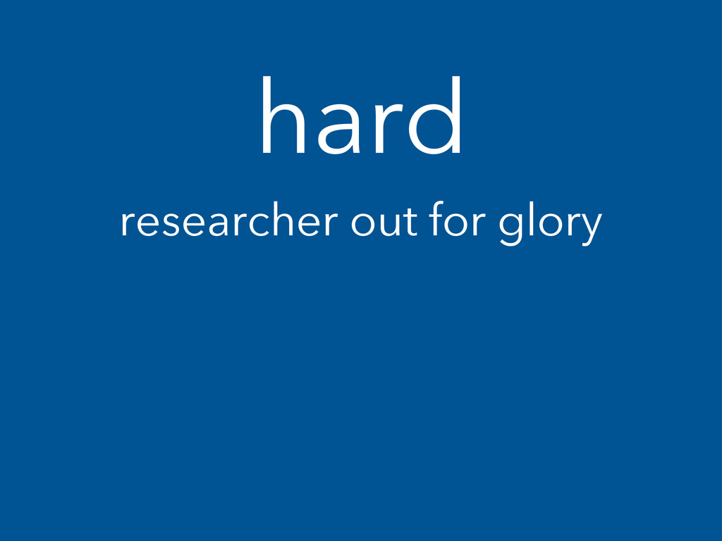 hard researcher out for glory