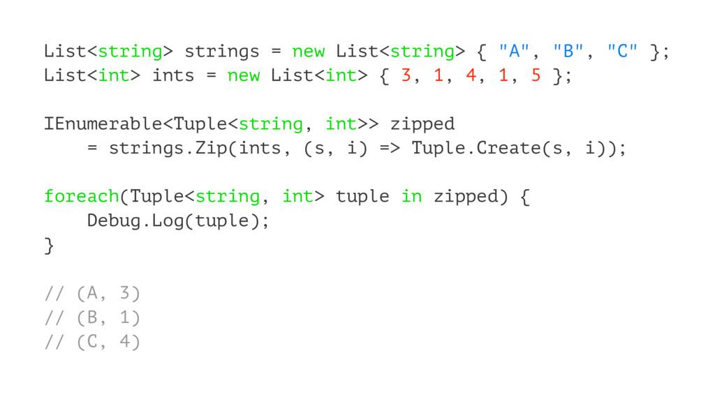 "List<string> strings = new List<string> { ""A"", ..."