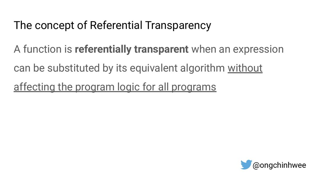 The concept of Referential Transparency A funct...